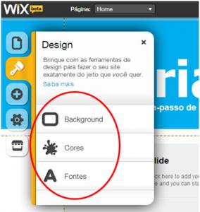 Configurar a aparência no Wix