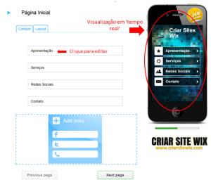 Site Wix Mobile - Editando página