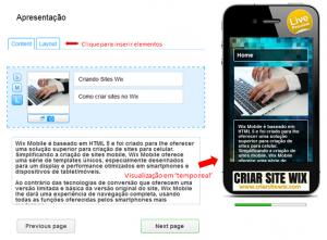 Editando página mobile