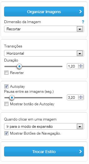 Configurações tipo de Galeria SlideShow