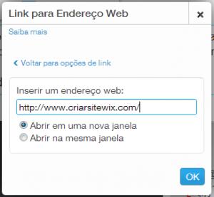 Inserindo link de uma página da internet