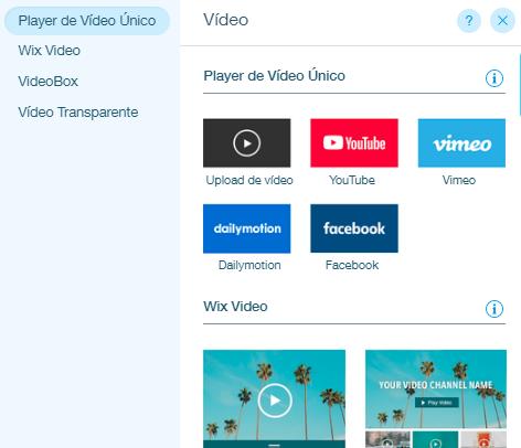 adicionar vídeos no wix